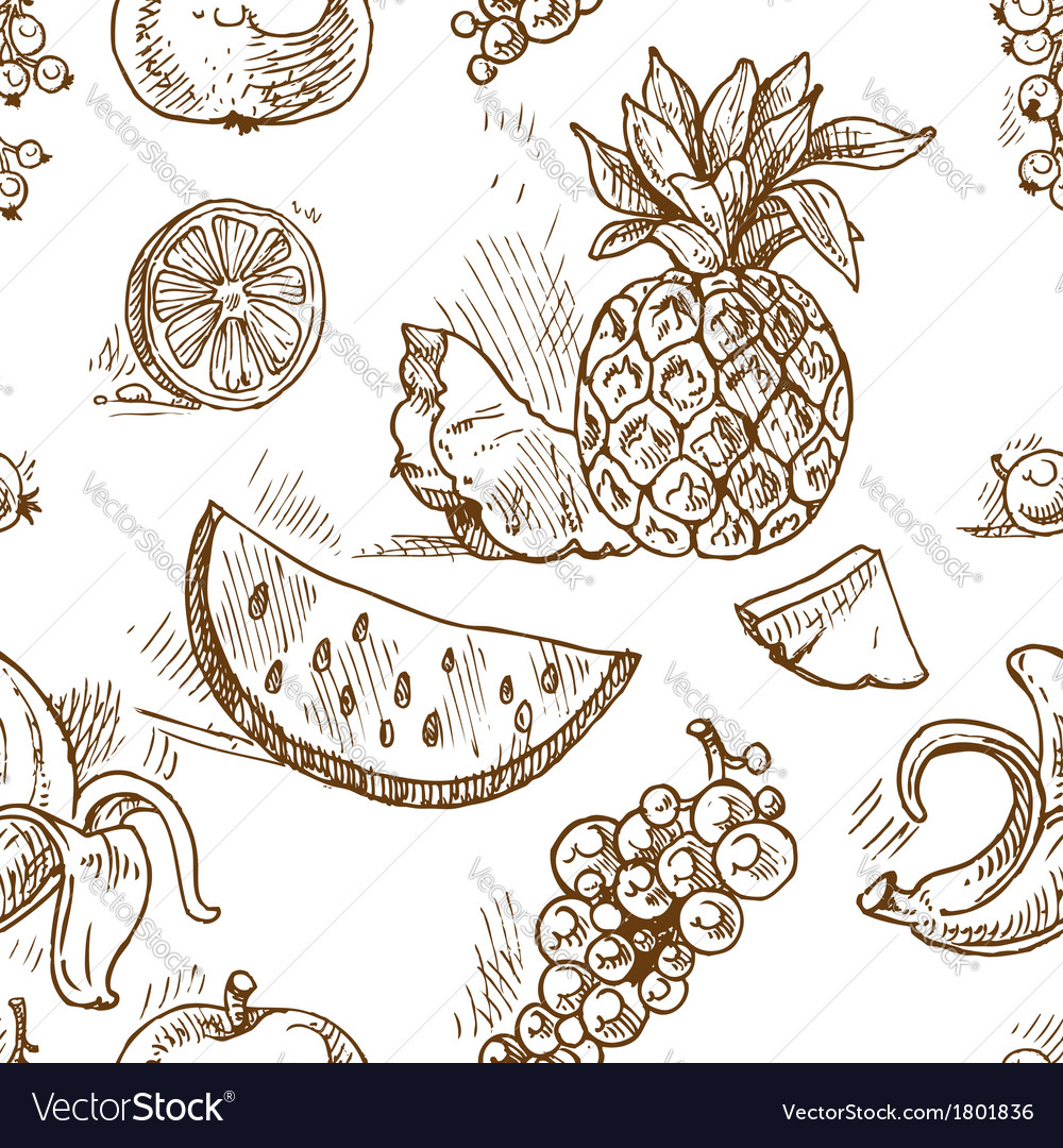 Seamless pattern of tropical fruit doodles vector | Price: 1 Credit (USD $1)