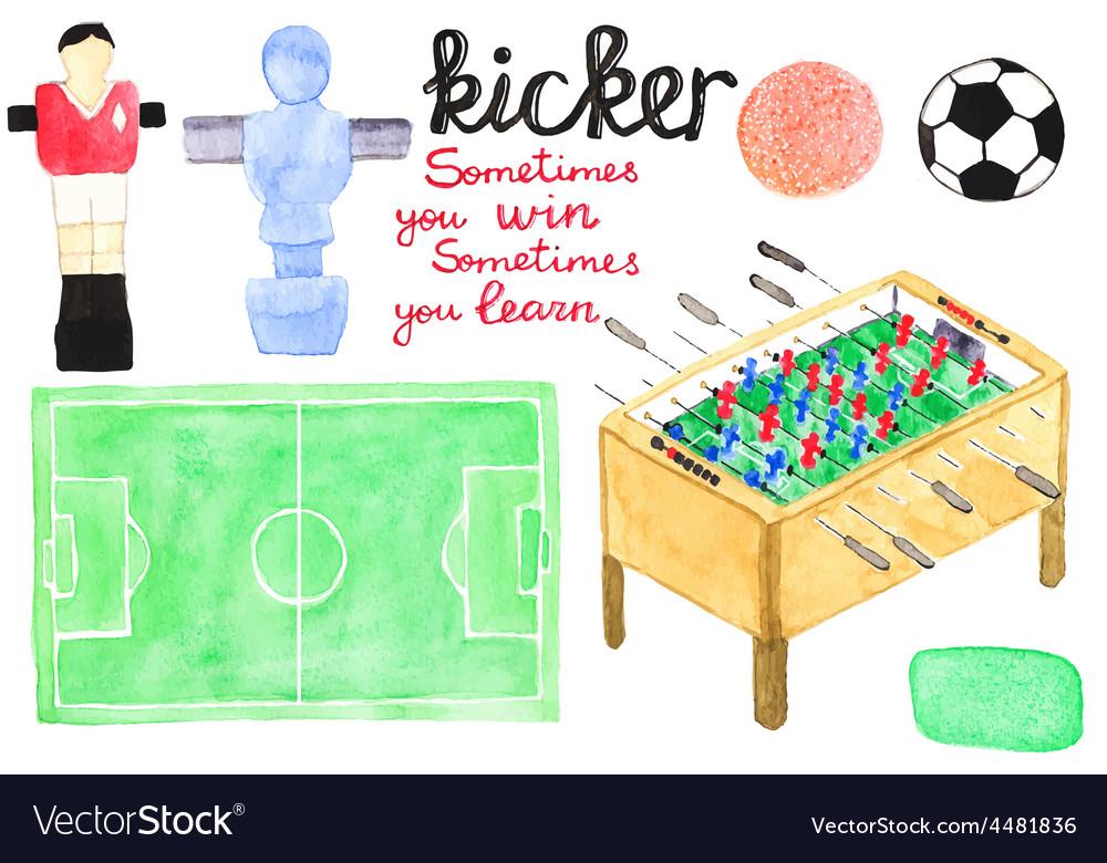 Set watercolor foosball or kicker design elements vector | Price: 1 Credit (USD $1)
