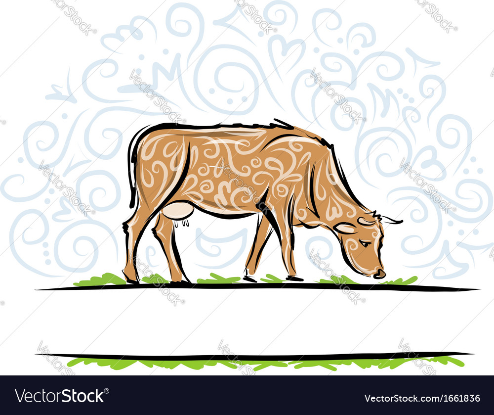 Sketch of ornamental cow for your design vector | Price: 1 Credit (USD $1)