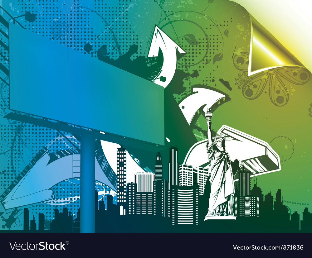 Urban poster with 3d arrows and billboard vector | Price: 1 Credit (USD $1)