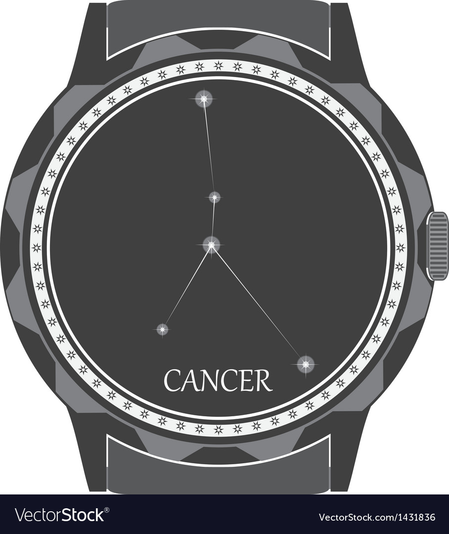 The watch dial with the zodiac sign cancer vector | Price: 1 Credit (USD $1)