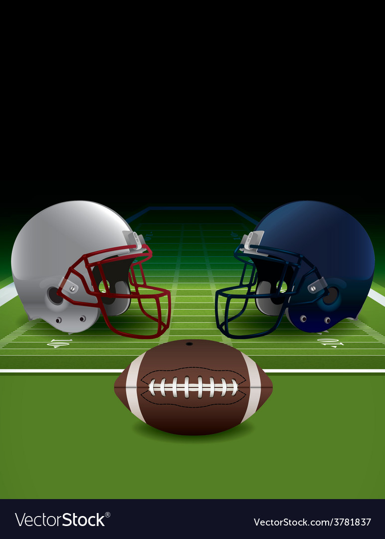 American football helmets ball and field vector | Price: 3 Credit (USD $3)