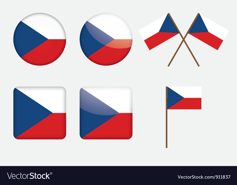 Badges with flag of czech republic vector | Price: 1 Credit (USD $1)