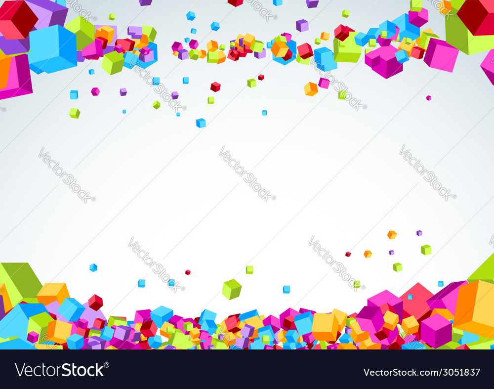 Bright plastic origami cubes fly background vector | Price: 1 Credit (USD $1)