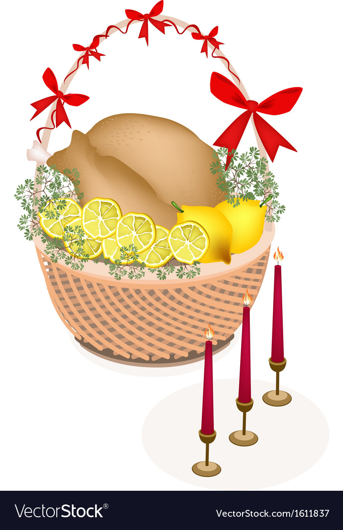 Brown basket of a delicious roast turkey vector | Price: 1 Credit (USD $1)