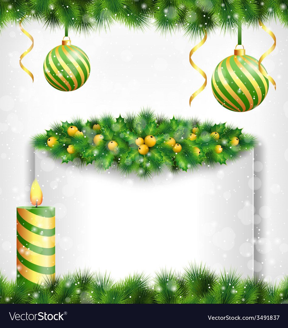 Candle with holly pine christmas balls and frame vector | Price: 1 Credit (USD $1)
