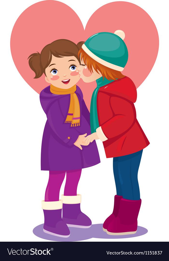 Children in love vector | Price: 1 Credit (USD $1)