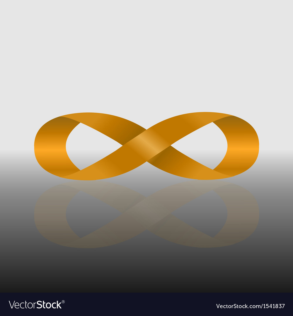 Golden infinity symbol with reflect vector | Price: 1 Credit (USD $1)
