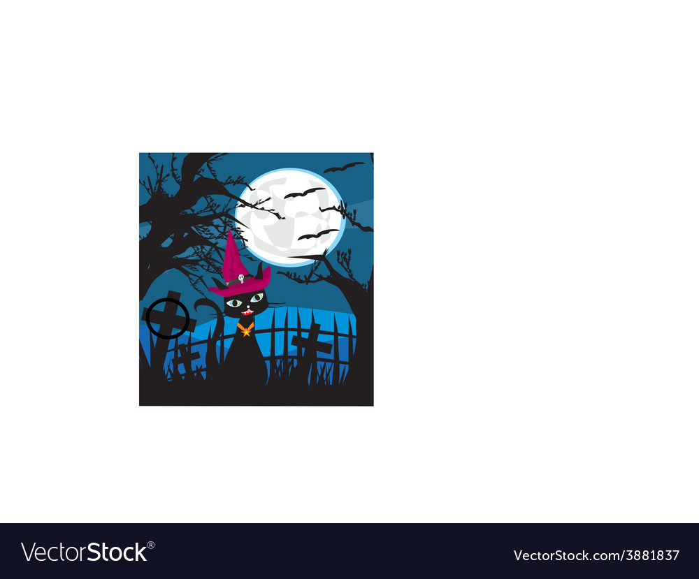 Halloween cat on cemetery vector | Price: 1 Credit (USD $1)