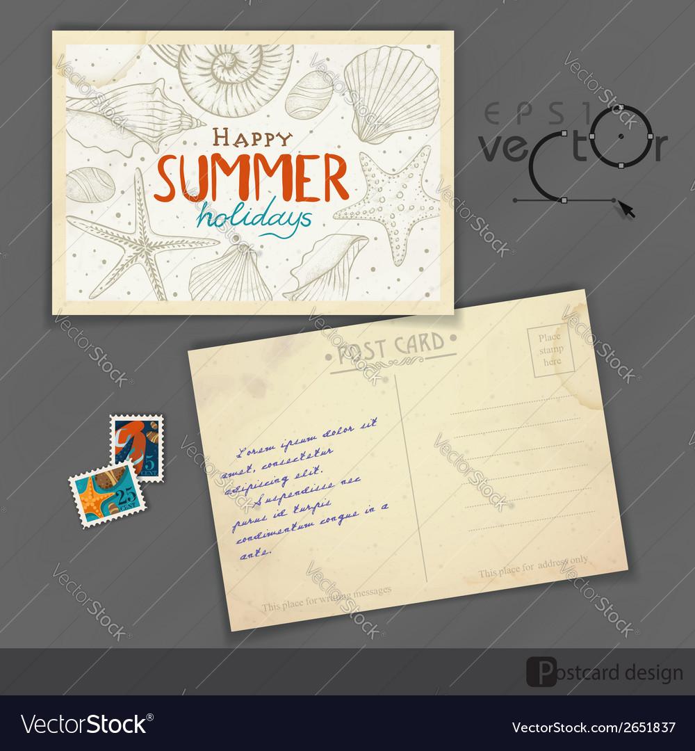 Old postcard design template vector | Price: 1 Credit (USD $1)