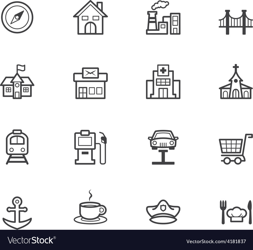 Place black icon set on white background vector