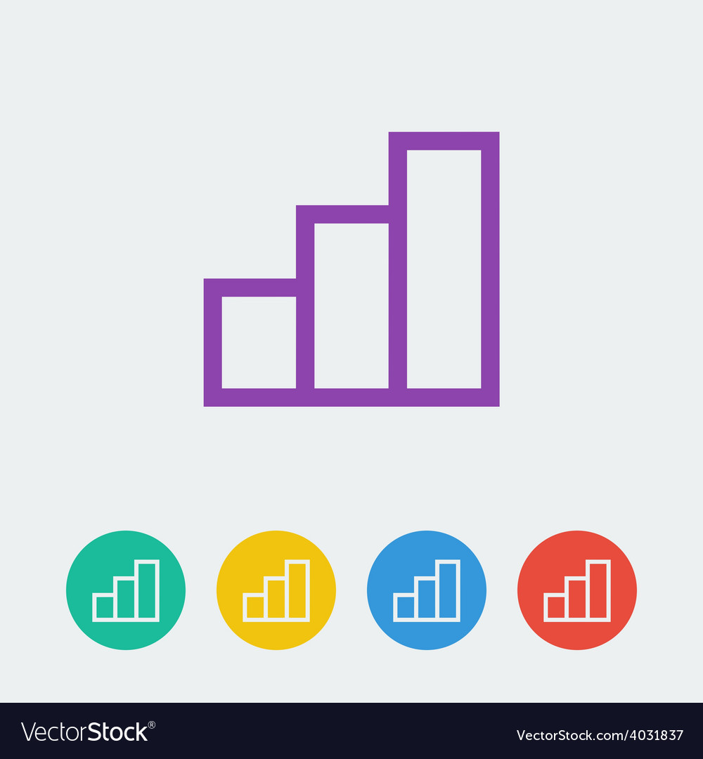 Statistic flat circle icon vector | Price: 1 Credit (USD $1)