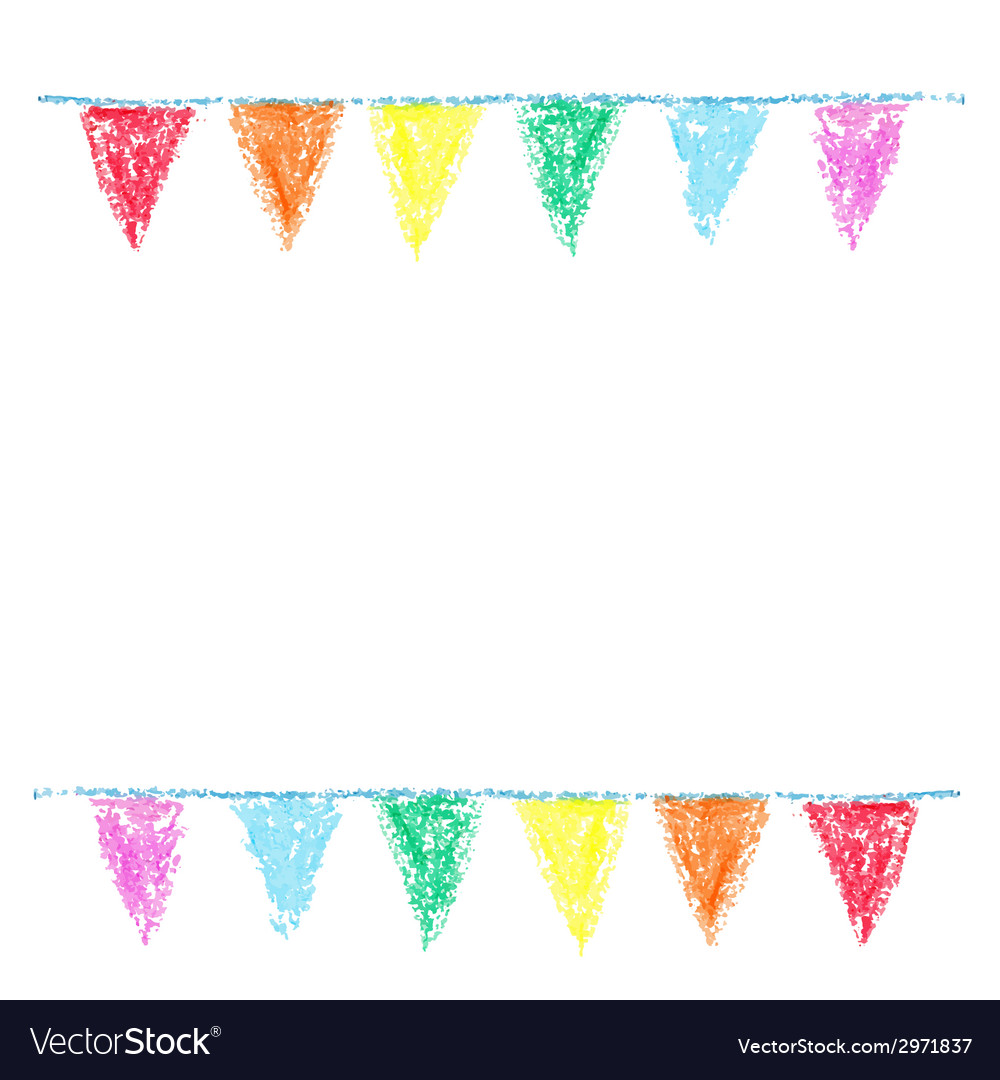 Wax crayon party bunting isolated on white vector | Price: 1 Credit (USD $1)