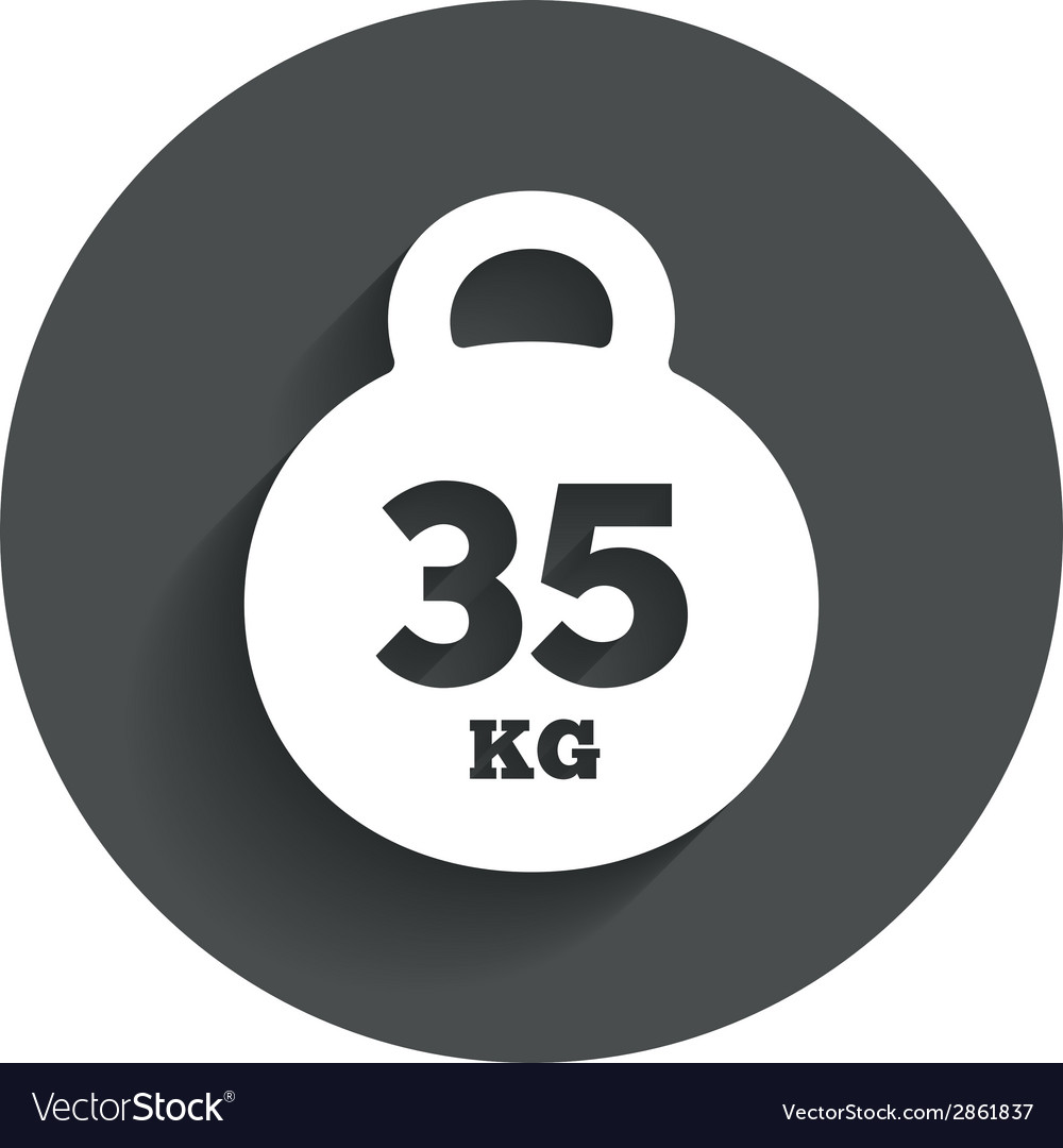 Weight sign icon 35 kilogram kg sport symbol vector | Price: 1 Credit (USD $1)