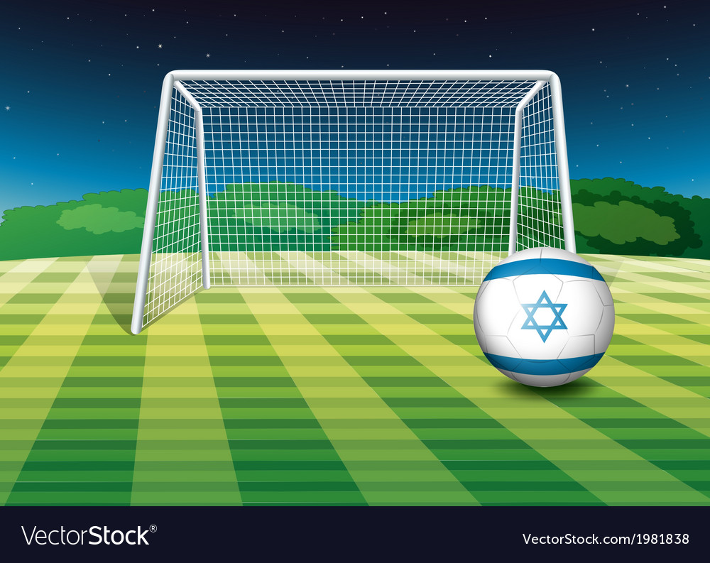 A football field with the flag of israel vector | Price: 1 Credit (USD $1)