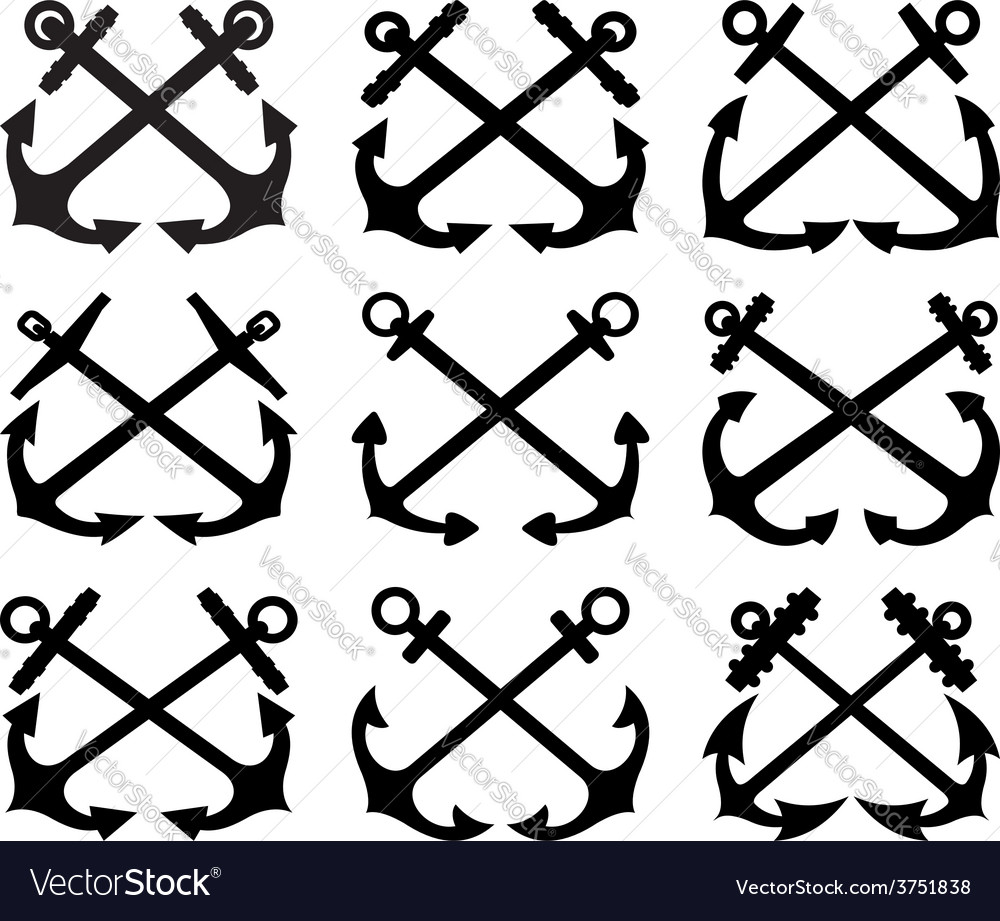 Crossed anchor silhouettes set vector | Price: 1 Credit (USD $1)