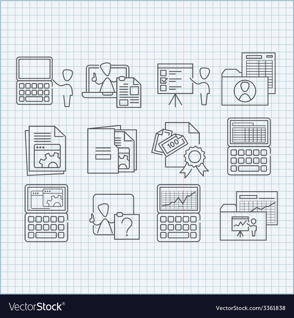 Education and web developing icons set vector | Price: 1 Credit (USD $1)