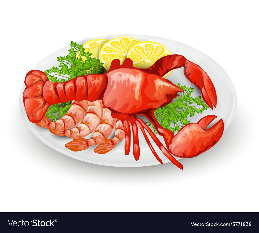 Lobster on plate vector | Price: 3 Credit (USD $3)