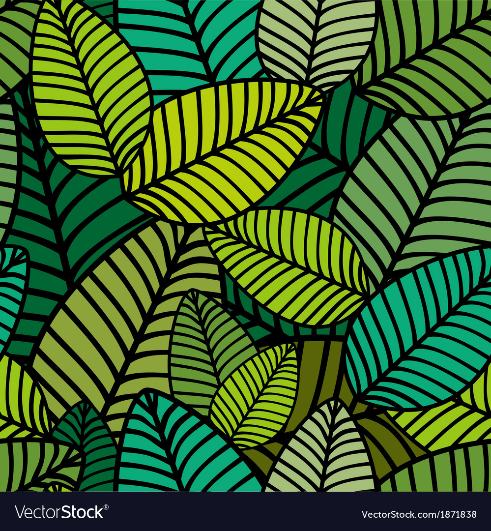 Pattern with striped leaves vector | Price: 1 Credit (USD $1)