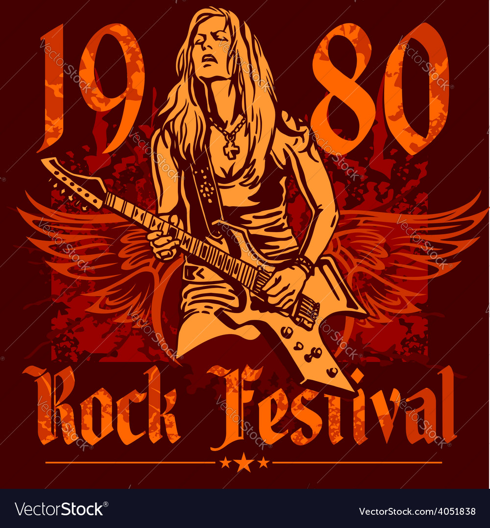 Rock concert poster - 1980s vector | Price: 3 Credit (USD $3)