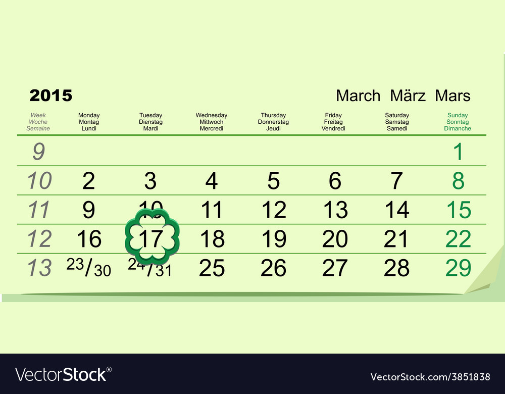 Saint patricks day calendar march 17 vector | Price: 1 Credit (USD $1)