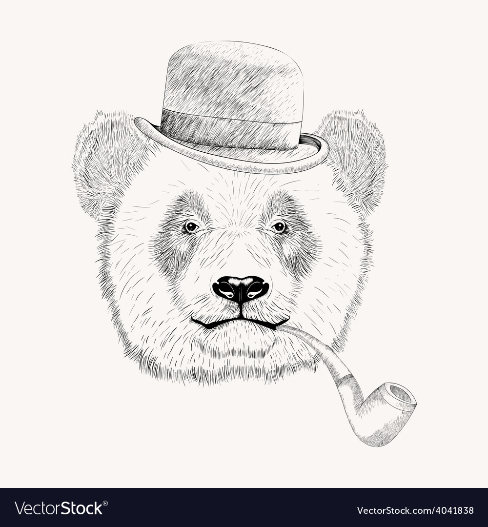 Sketch panda face with black bowler hat and vector | Price: 1 Credit (USD $1)