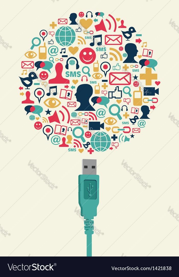 Social media icons in globe shape with usb plug vector | Price: 1 Credit (USD $1)