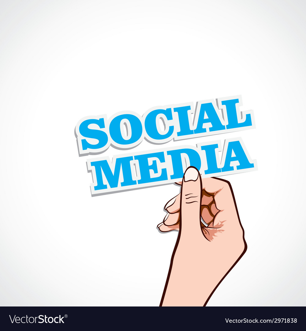 Social media word in hand vector | Price: 1 Credit (USD $1)