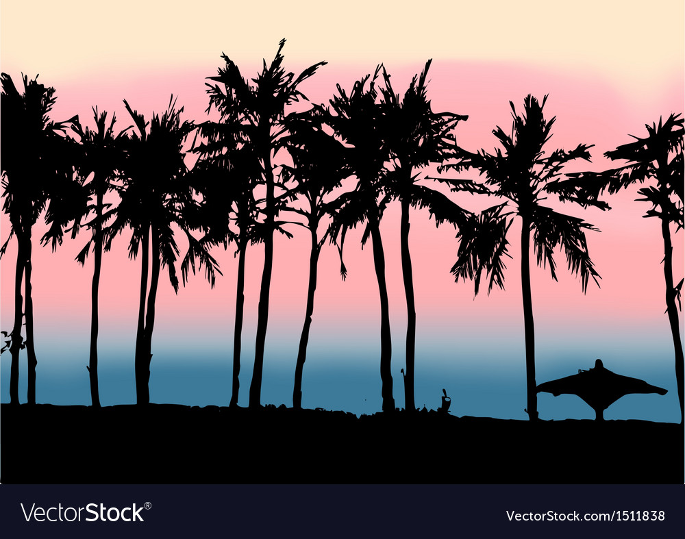 Sunset on the beach of persian gulf vector | Price: 1 Credit (USD $1)