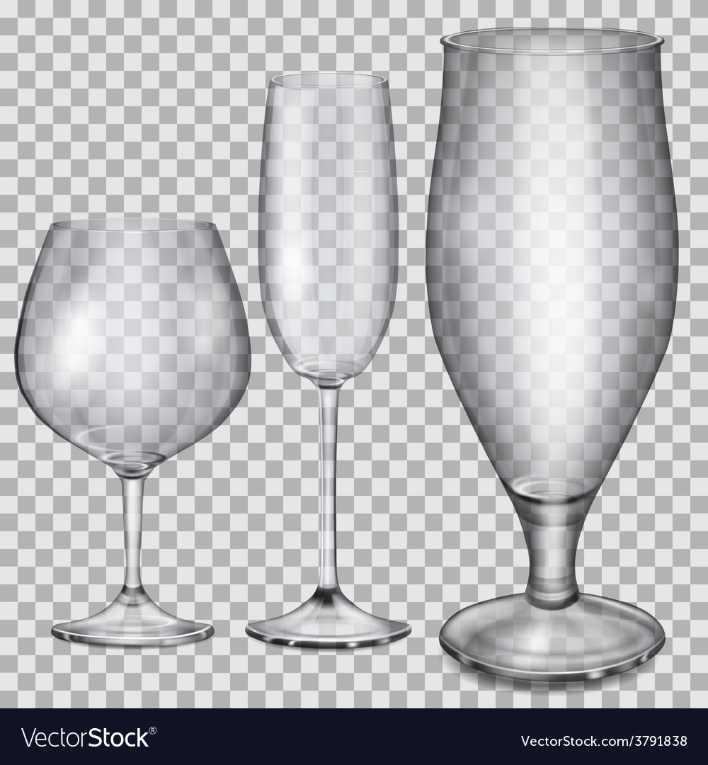 Transparent empty glass goblets vector | Price: 1 Credit (USD $1)