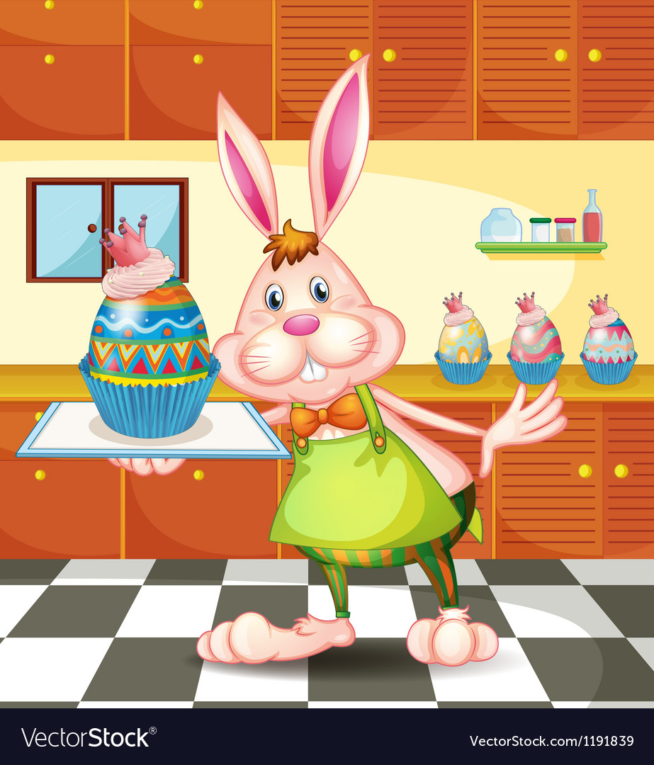 A bunny baking an egg-designed cupcakes vector | Price: 1 Credit (USD $1)