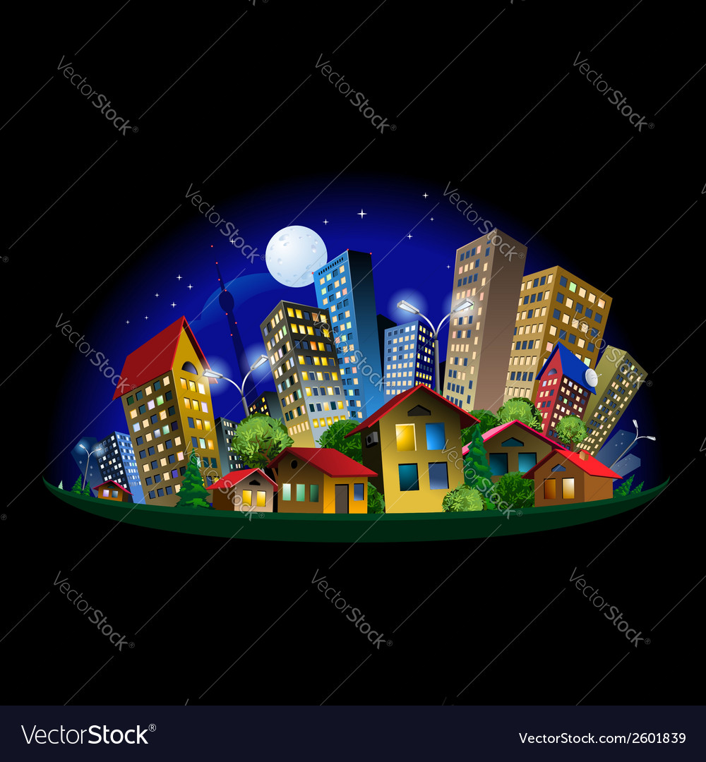 Abstract city at night vector | Price: 3 Credit (USD $3)