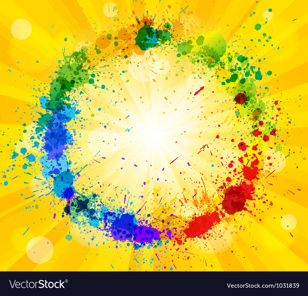 Bright sun and paint splashes vector | Price: 1 Credit (USD $1)