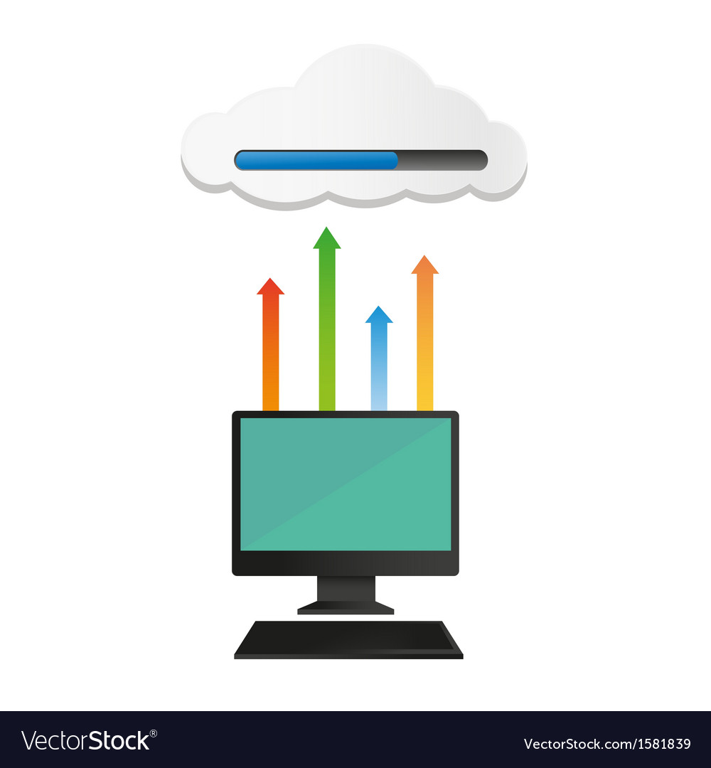 Computer uploaded to cloud vector | Price: 1 Credit (USD $1)