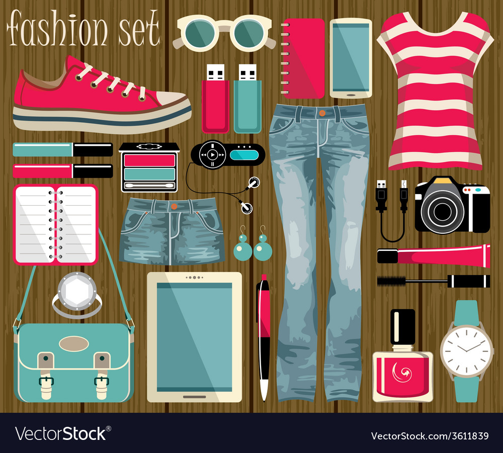 Fashion set in a style flat design vector | Price: 1 Credit (USD $1)
