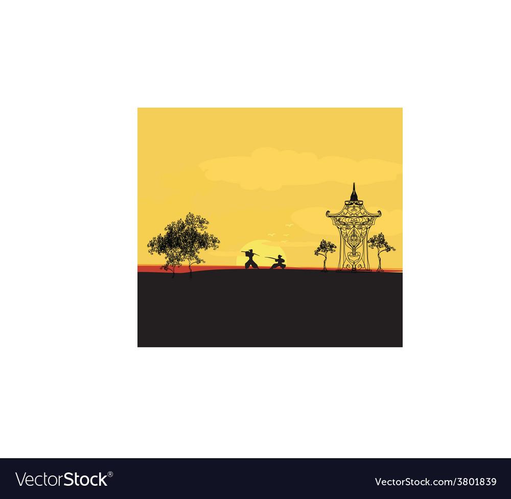 Fighting samurai silhouette at sunset asian vector   Price: 1 Credit (USD $1)