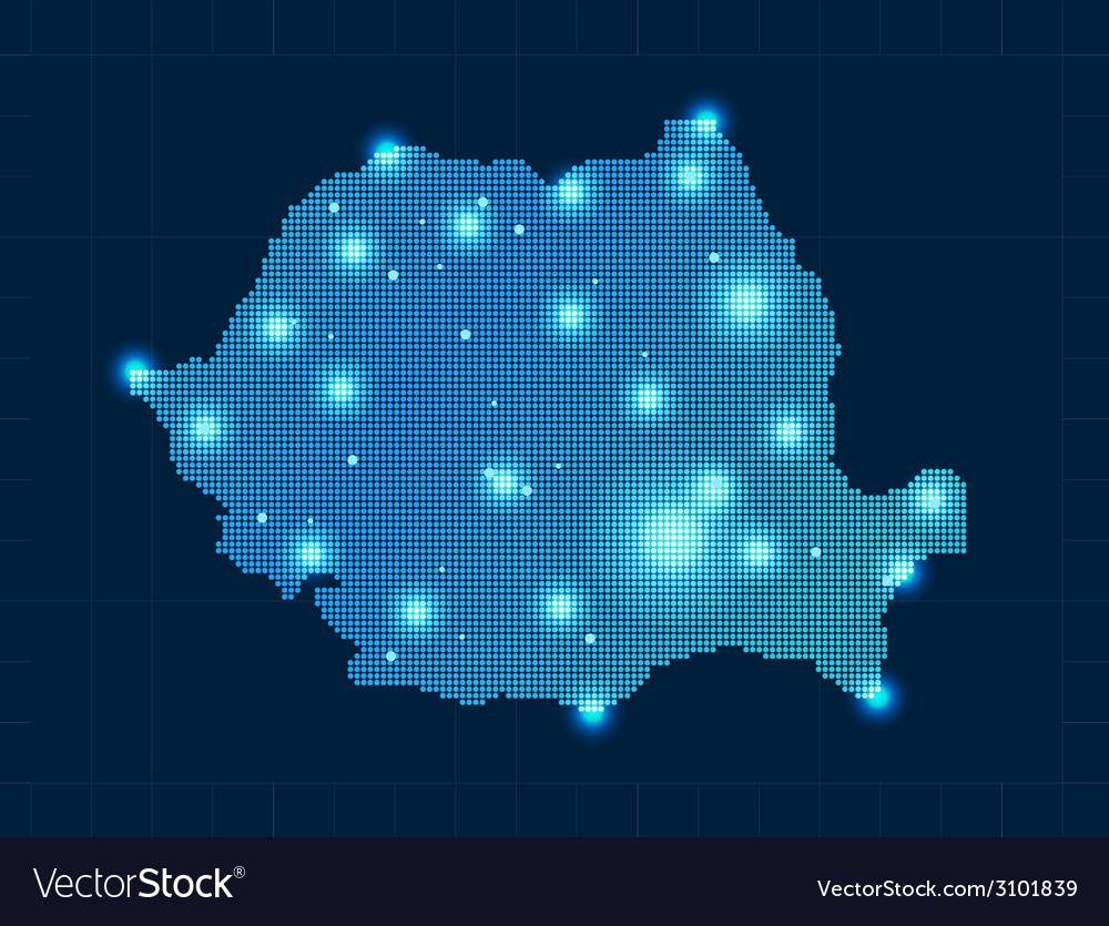 Pixel romania map with spot lights vector | Price: 1 Credit (USD $1)