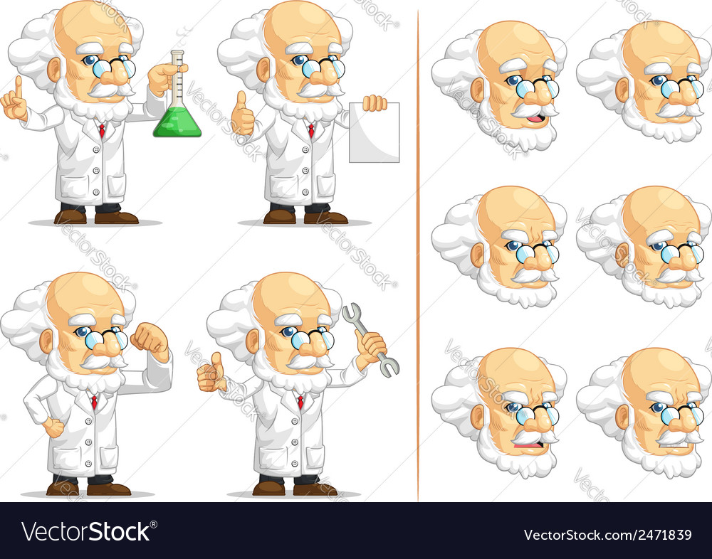 Scientist or professor customizable mascot 2 vector | Price: 1 Credit (USD $1)
