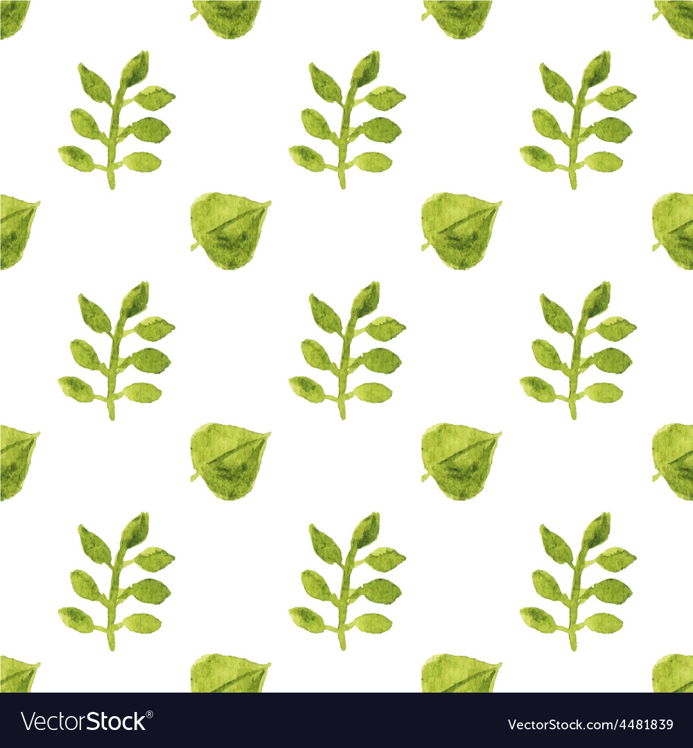 Seamless watercolor pattern with leaves on the vector | Price: 1 Credit (USD $1)