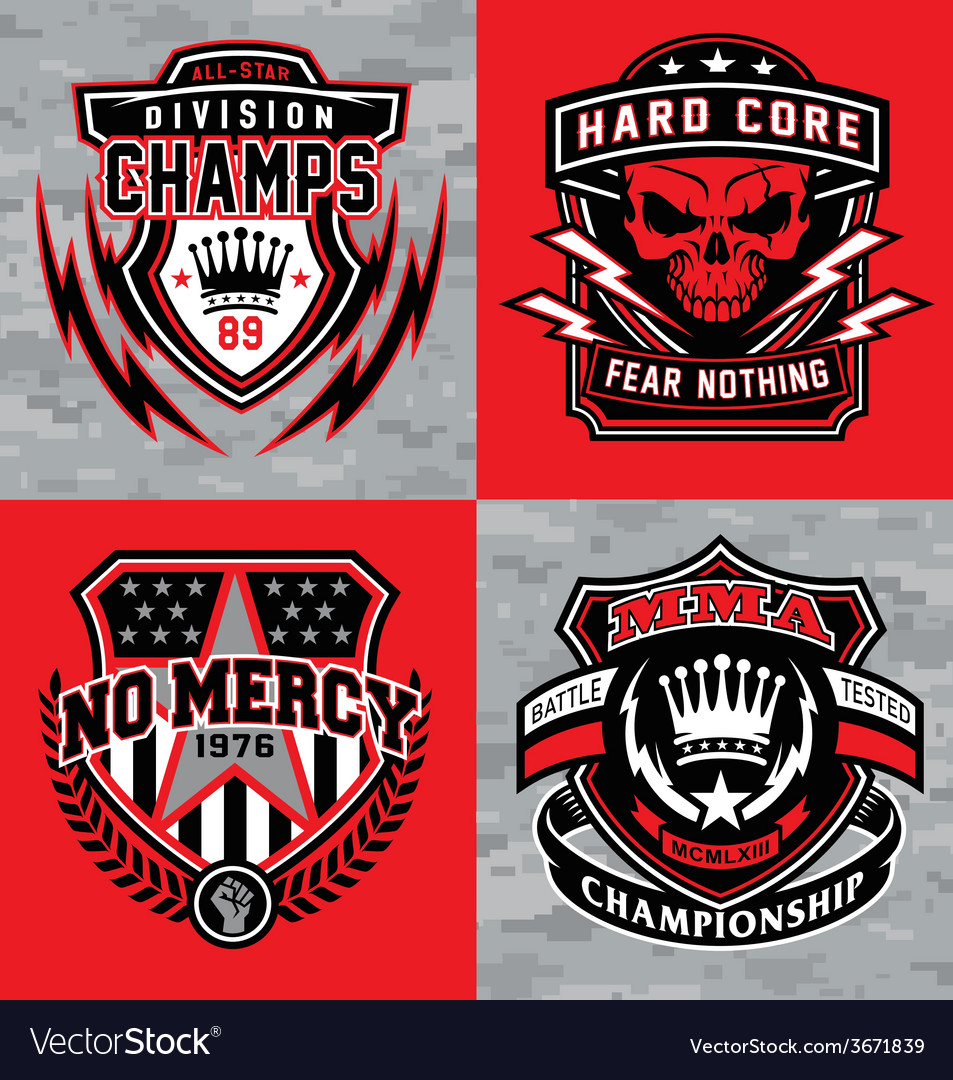 Sports shield emblem graphic set vector | Price: 1 Credit (USD $1)