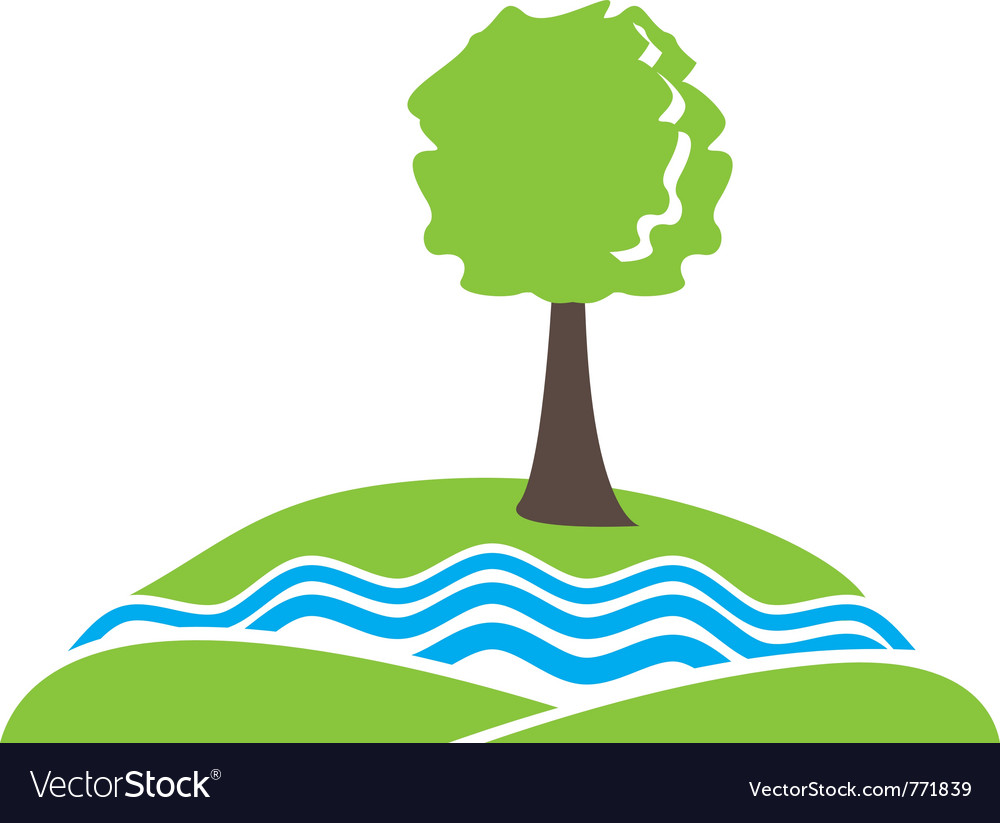Tree-river-hill sign vector | Price: 1 Credit (USD $1)