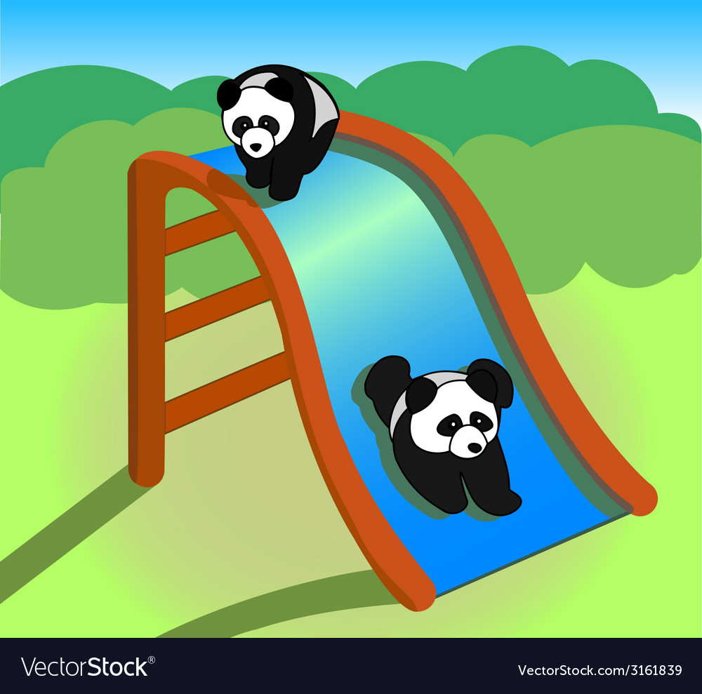 Two pandas on a slide vector | Price: 1 Credit (USD $1)
