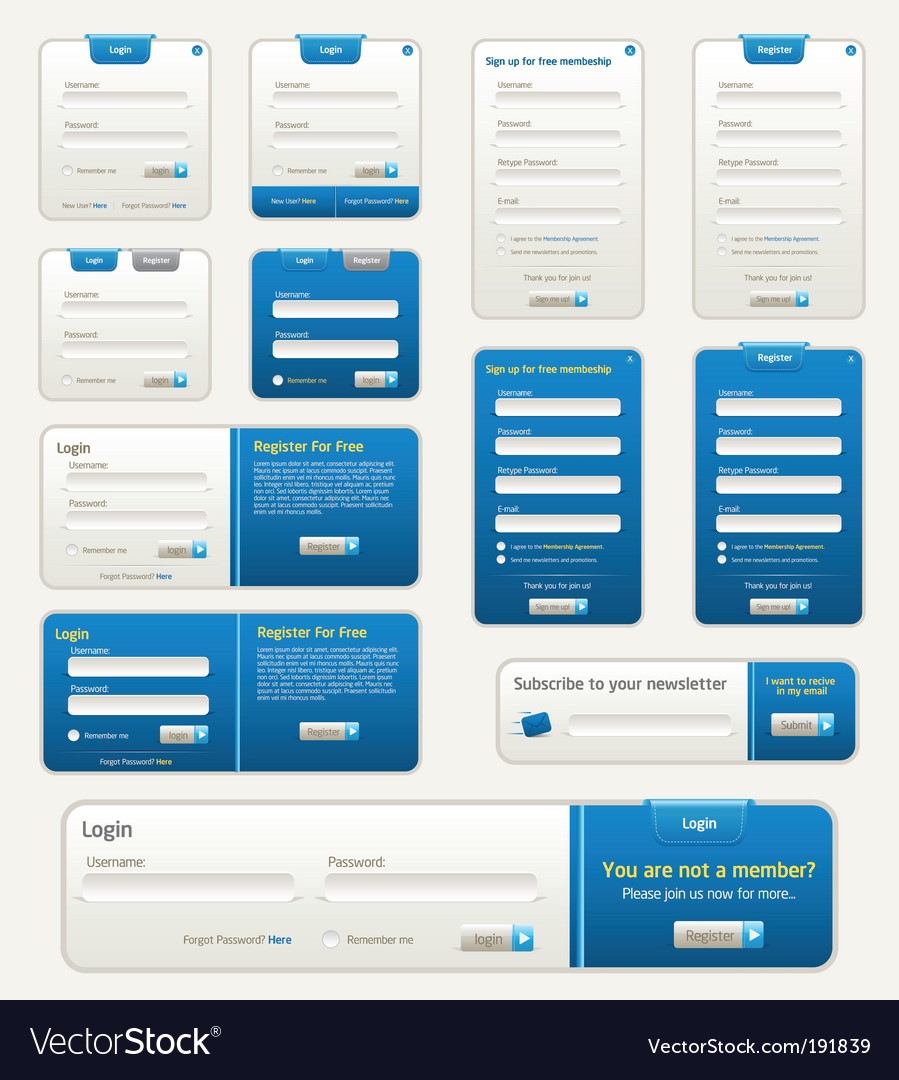 Website design elements vector | Price: 1 Credit (USD $1)