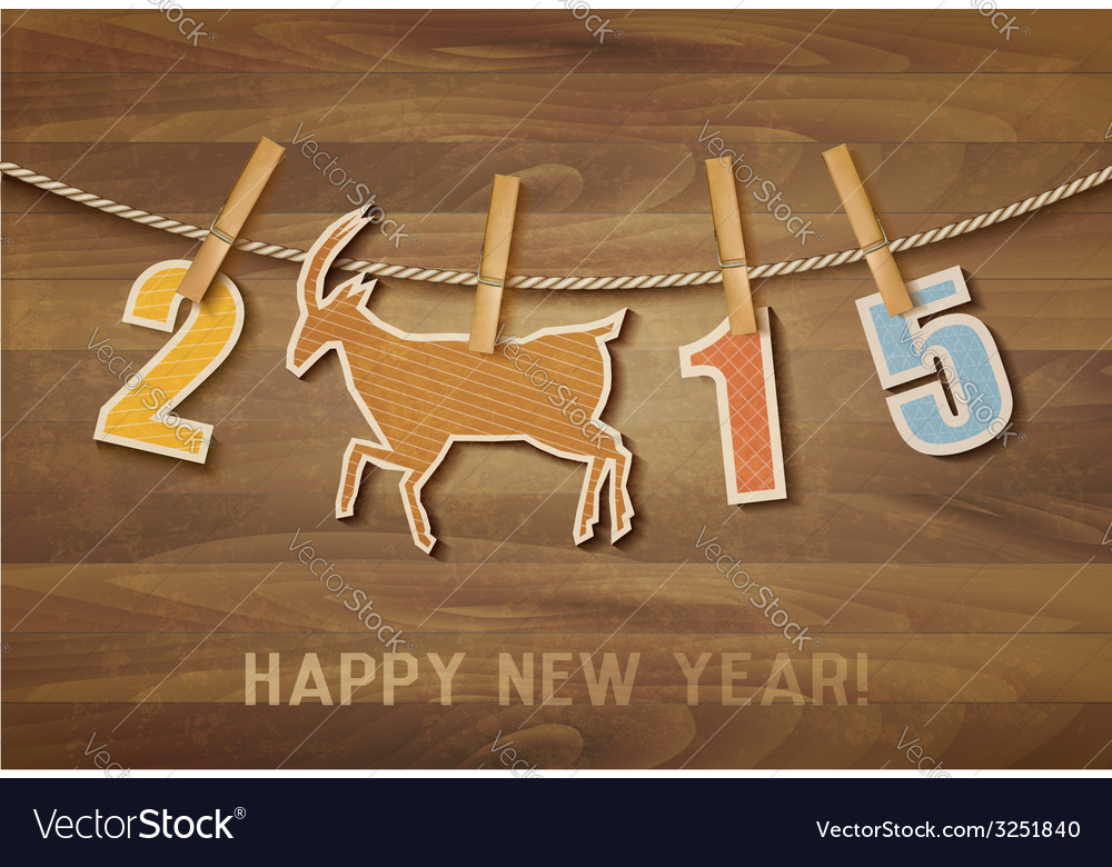 2015 with a goat on wooden background vector | Price: 1 Credit (USD $1)