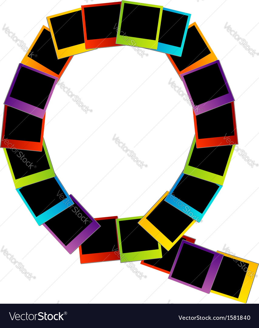 Alphabet q with colorful polaroids vector | Price: 1 Credit (USD $1)