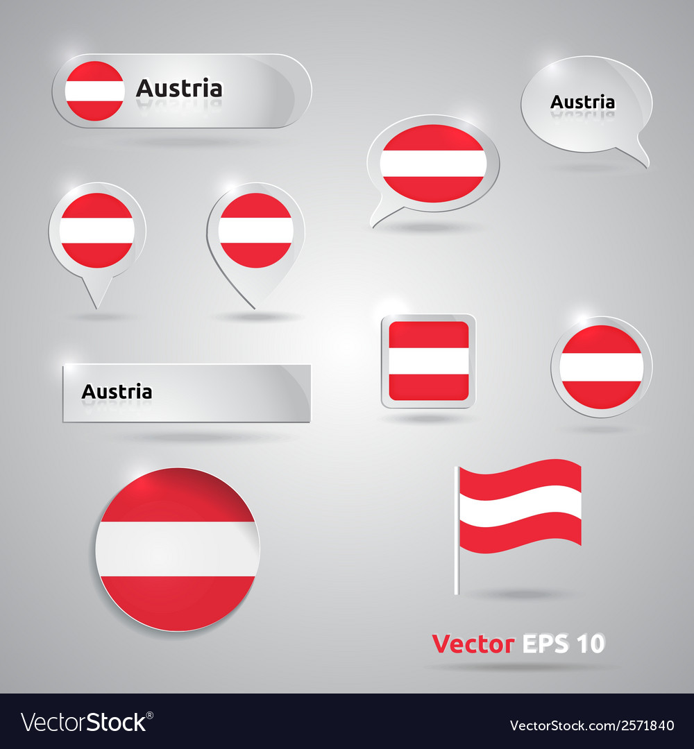 Austria icon set of flags vector | Price: 1 Credit (USD $1)