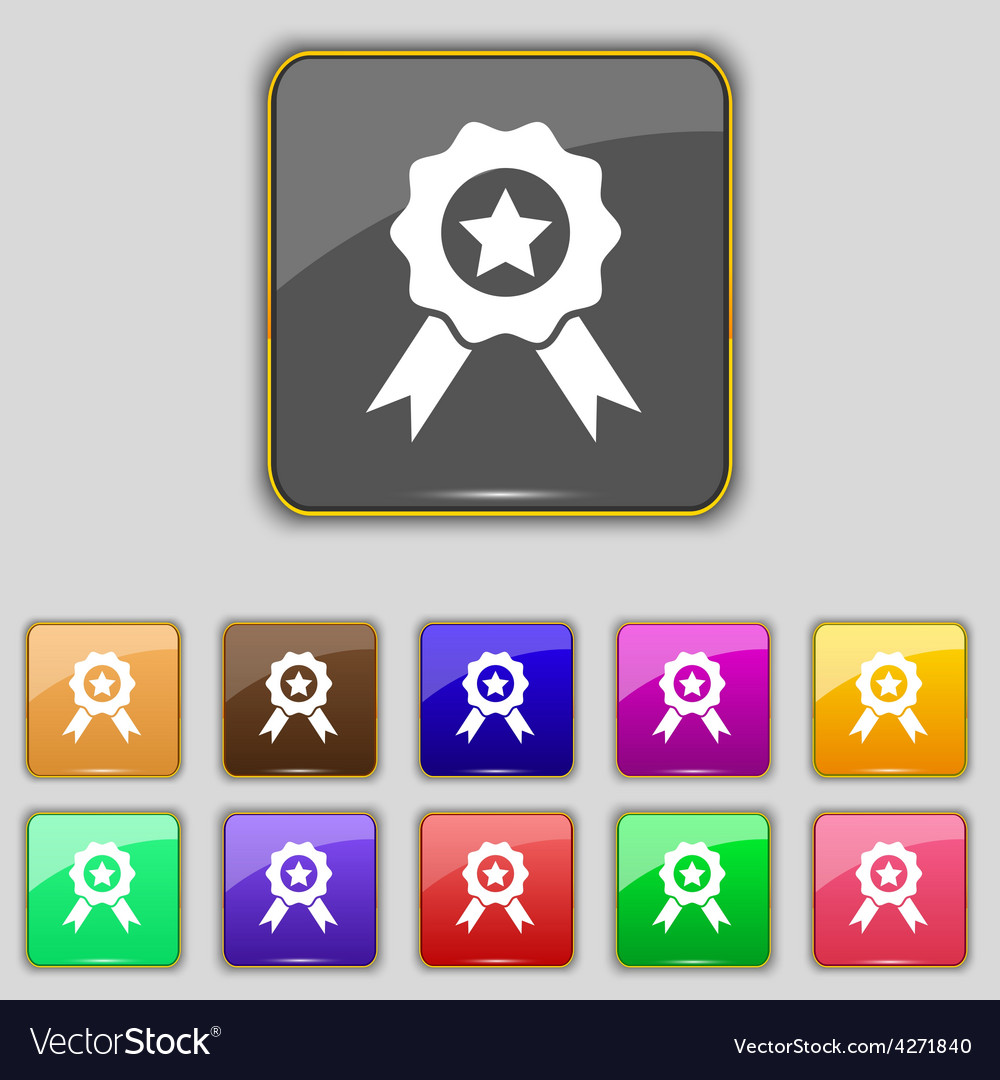 Award medal of honor icon sign set with eleven vector | Price: 1 Credit (USD $1)
