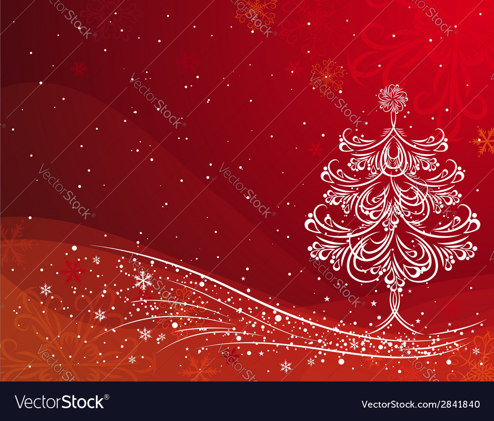 Christmas tree on the red background vector | Price: 1 Credit (USD $1)