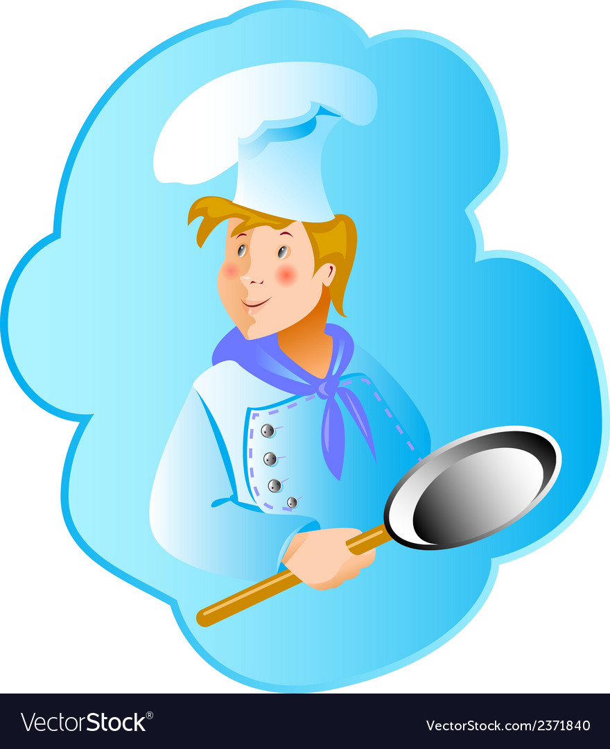 Cook professionin a frying pan vector | Price: 1 Credit (USD $1)