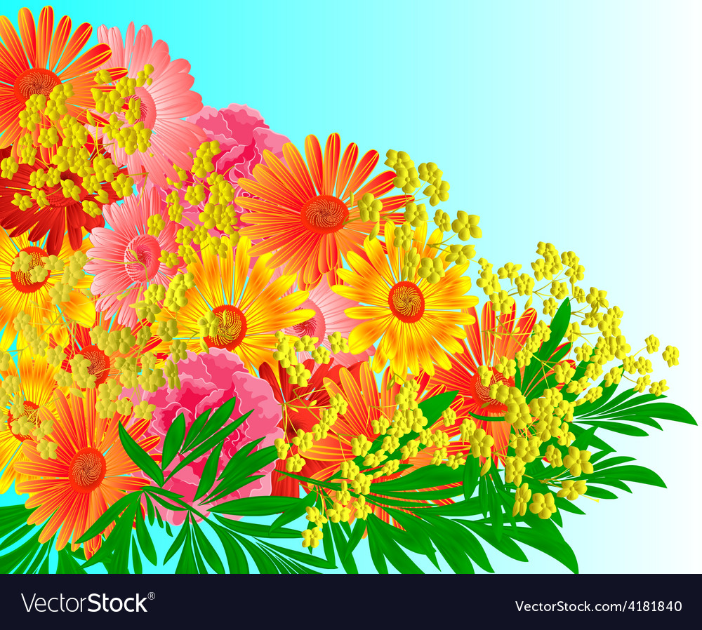 Festive bouquet of gerberas and roses vector | Price: 1 Credit (USD $1)